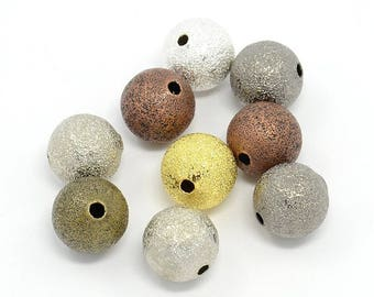 set of 5 frosted in multicolor brass STARDUST 10 mm beads