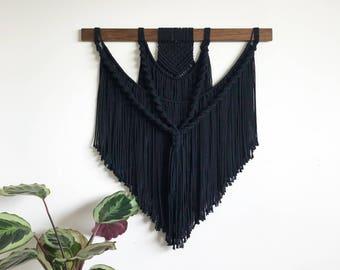 Modern macrame wallhanging, black macrame, minimalistic macrame, wallhanging, fiber art.