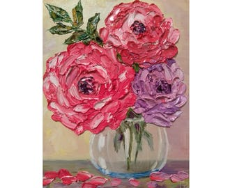 Pink and Purple Roses in a Glass Bowl Original oil impasto painting No.04-58 ready to hang