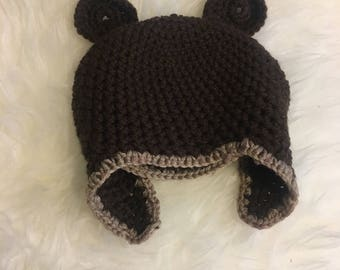 Baby/toddler bear hat with ear flaps 26