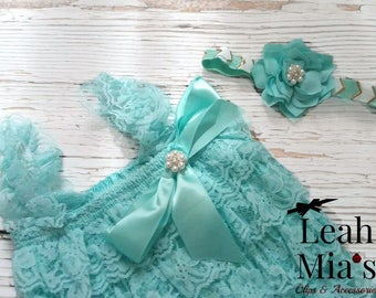 Mint Headband and Romper Set, Lacy Romper and Lotus Headband Set, Photography Props for Infant Photographers, Mint and Gold Lotus Headband