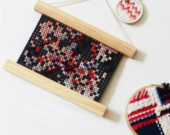 cross stitch decorative, embroidered textile hanger, embroidery wall modern wall decoration, decoration, gift, nayquach