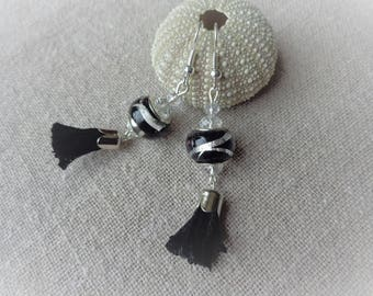 Black glass bead dangle earrings