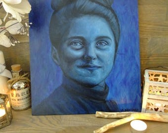 St Therese Little Flower Therese Martin portrait - deep blue original handmade french art !