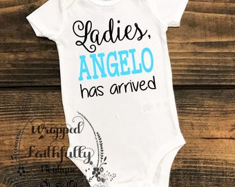"Baby Body Suit/Shirt ""Has Arrived""-Newborn Outfit-Baby Clothes"