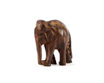 VINTAGE: Small Hand Carved Wood Elephant - Good Luck Sculpture - SKU 14-C1-00011509