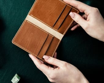 Vertical Bifold Wallet, whiskey vitellino calf leather, elegant wallet, free delivery
