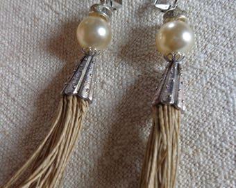 Bohemian style Pearl and linen thread tassel earrings