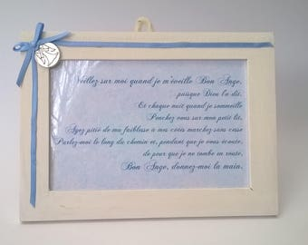 Prayer to guardian angel, blue and medal frame