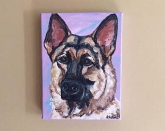 German Shepherd Portrait, 12x9 acrylic painting by Ana Peralta