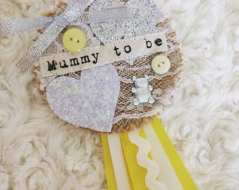 Yellow and silver baby shower rosette mummy to be - nanny to be - godmother - any wording - baby shower favour