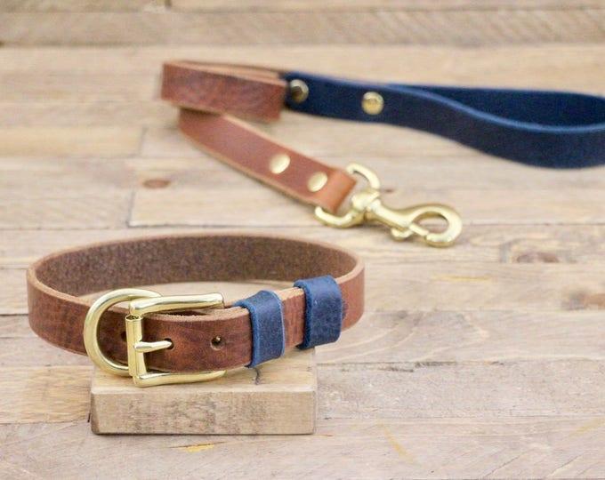 Dog collar, Dog leash, Set,  FREE ID TAG, Cowboy, Deep ocean, Brass hardware, Handmade, Leather leash, Leather collar.