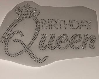 Birthday Queen Rhinestone iron on  -rhinestone shirt Iron on Decal ,birthday decal, birthday rhinestone iron on