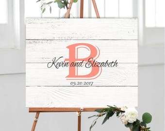 Wedding Guest Book Alternative, Personalized Monogram Guest Book, Faux wood guest book alternative, Rustic Alternative Guestbook Idea