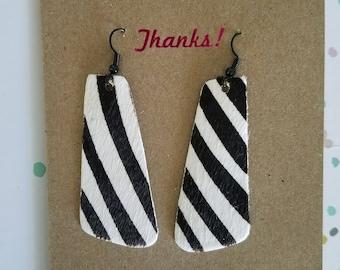 "Handmade Leather Earrings - Black & White Zebra Print - 2.25"" x 1"""