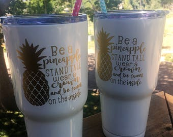 Be A Pineapple, 34oz Stainless Steel Cup with Cute Straw