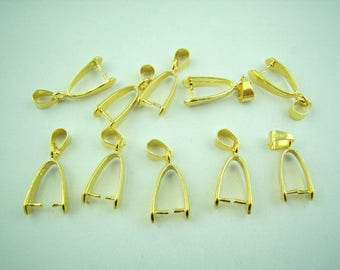 10 Gold Plated Copper Ice Pick Pinch Bails 25x8mm (B277d)