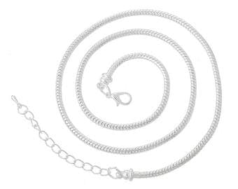1 Silver Plated Lobster Snake Clasp Necklace 50cm (B450n)
