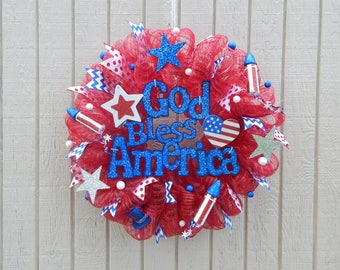 4th of July Wreath, 4th of july mesh Wreath, Summer Mesh Wreath, Summer wreath Spring Wreath