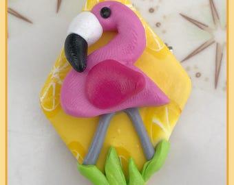 Pink Lawn Flamingo Kitschy Pinup Pin Brooch Rockabilly