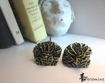 Stud Earrings, Peacock, origami (free postage in France for all the products in the shop).