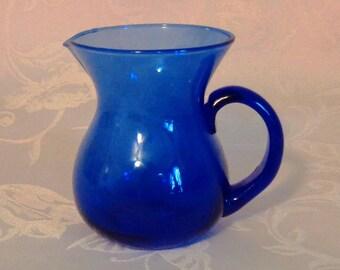 Vintage Cobalt Blue Glass Creamer Pitcher