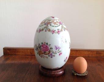 Porcelain egg - Collection egg - Porcelain egg pink decor - Egg on wooden stand - Vintage egg