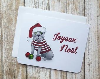 Funny Christmas Card, French Bulldog Card, Dog Card, Dog Christmas Card, Pun, Frenchie, Francais, Chien, Carte Dr Noel, drole carte
