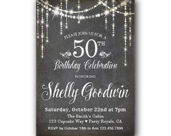 50th Birthday Invitation for her, Women's 50th Birthday Invitations, Black and White, Chalkboard Style 50th Birthday Invitation for woman