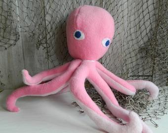 Stuffed fleece octopus plush toy, sea life plush, octopus soft toy, gift for girls, gift for boys, nautical decor