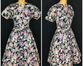 1950s Style Blue Floral Day Dress | 80s does 50s Flower Dress with Button down skirt | 1980s