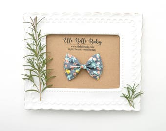 Gray Pink & Blue Floral Newborn Bow Tie -Belle Hair bow- Baby Headband - Cotton Hairbow - Infant Tuxedo Bow - Ballet Bow - Toddler Hair Clip