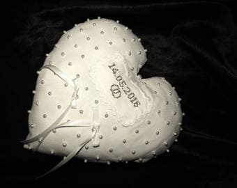 Heart ring bearer pillow white wedding embroidery stitch Cross and beads