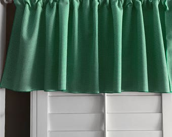Micro Gingham Checker Plaid Window Valance 58 Inch Wide for Kitchen or Bedroom Windows Hunter Green