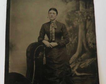 Tintype Photo Victorian Woman Tree Background