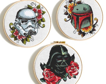 Star Wars cross stitch Floral Darth Vader pattern Disney Cross stitch Stormtrooper Counted cross stitch Starwars Trilogy Modern embroidery