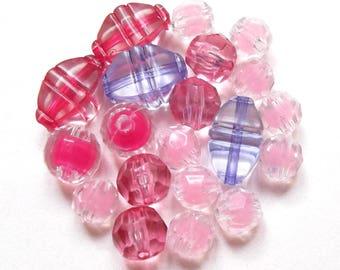 Mix of 25 pink, fuchsia and purple acrylic