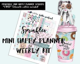 Sprinkles MINI Happy Planner weekly kit / MINI Happy Planner printable stickers / Digital Printable Planner Stickers / Silhouette Cut Files