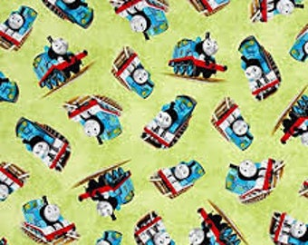 "Thomas on green fabric by VIP, 43-44"" wide, 100% cotton, by the half yard"