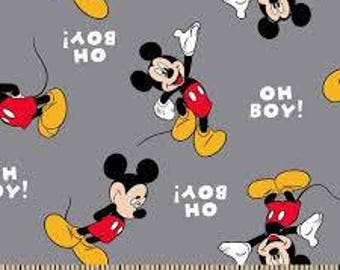 """Oh Boy Mickey! on Gray Flannel by Springs Creative fabric, By the Half Yard, 42"""" wide, 100% cotton"""