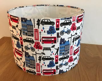 London Town English buses, taxis lamp shade