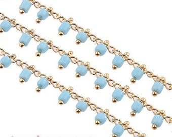 1 m chain 2mm sky blue and gold chain, 39 beads