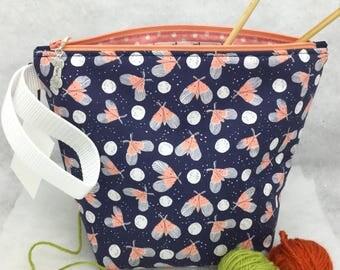 Moths + Mothballs Knitting Project Bag, Crochet Project Bag, Small Knitting Bag