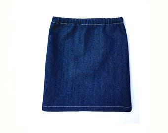Pencil Skirt, Denim, Jean, Blue, White, Fits dolls such as American Girl, 18 inch Doll Clothes, Fall