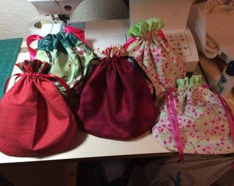 Cotton Drawstring Bag, Handmade, Victorian, Make up, Lined