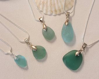 Aqua sea glass necklace, 5 options, uk seaglass, sea foam, sea glass jewelry, aqua beach glass, sea glass necklace, sea glass pendant