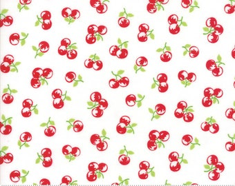 "Moda ""The Good Life"" by Bonnie and Camille ~ ORCHARD ~ Cream Red 55158 29  ~ Cherries~ Half Yard Increments"