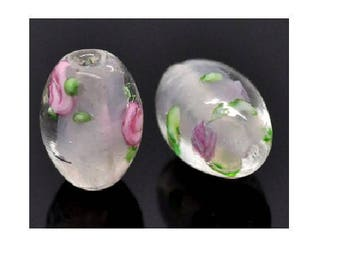 Set of 2 glass flower 14 mm x 10 mm oval shape beads