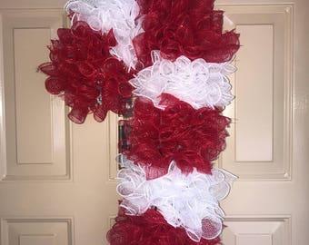 Christmas Wreath, Candy Cane Wreath, Holiday Wreath, Deco Mesh Wreath, Porch Wreath, Indoor Wreath, Outdoor Wreath