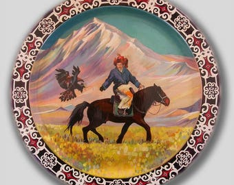 "Traditional Hunting ""Berkut-Chee"", original painting on wood plate with ornament"